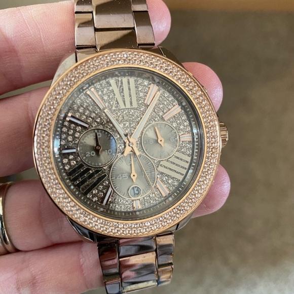 Michael Kors Accessories - Michael Kors Watch Wren Pave Chocolate Gold ✨